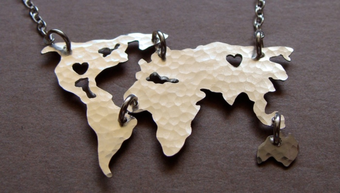 World Map Necklace - The Best Christmas Gifts for People who Love to Travel