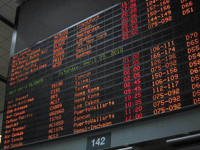 vancouver airport departure screen image by Flickr user gotovan